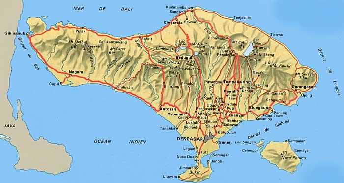 Carte Routiere Ubud Bali.Carte De Bali Carte Routiere Et Geographique