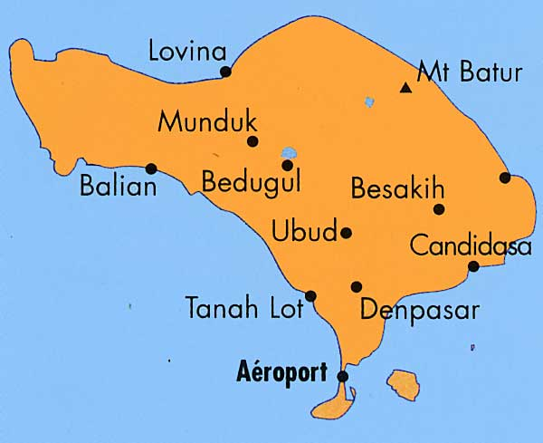 Carte Routiere Ubud Bali.Tourisme A Bali Centres Et Sites D Interet Touristique